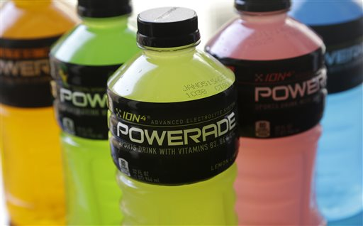 Powerade bottles in various flavors are photographed in San Francisco, Monday, May 5, 2014. A controversial ingredient, brominated vegetable oil, is being removed from some Powerade sports drinks. (AP Photo/Jeff Chiu)