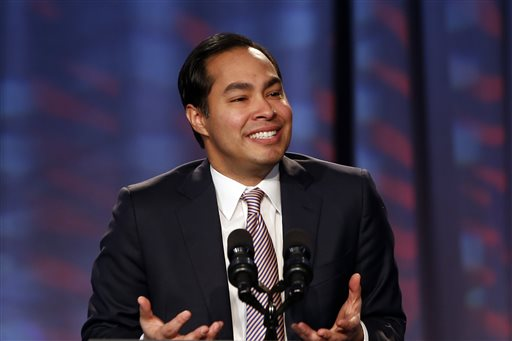 In this Jan. 23, 2014, file photo, San Antonio Mayor Julian Castro speaks about President Barack Obama's signature health care law at the Families USA's 19th Annual Health Action Conference in Washington. The White House said Thursday, May 22, 2014,  President Barack Obama intends to nominate San Antonio Mayor Julian Castro to become housing secretary and will tap Shaun Donovan, the current housing secretary, to run the budget office. (AP Photo/Charles Dharapak, File)