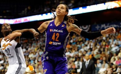 In this June 29, 2013 file photo, Connecticut Sun's Kalana Greene, left, and Phoenix Mercury's Brittney Griner eye a rebound during the first half of a WNBA basketball game in Uncasville, Conn. The WNBA is launching a campaign to market specifically to the gay, lesbian, bisexual and transgendered community. It's the first league to design such a campaign. Griner, who is one of a handful of WNBA athletes who have publicly identified themselves as lesbian, was happy the league was embracing the community.  (AP Photo/Jessica Hill, File)