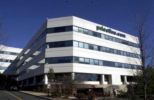 In this Thursday, Nov. 2, 2000, file photo, Priceline.com headquarters is shown, in Norwalk, Conn. Priceline is buying online restaurant reservation company OpenTable for $2.6 billion. The deal should help Priceline, the online travel company, branch out into a new business segment. (AP Photo/Douglas Healey, File)