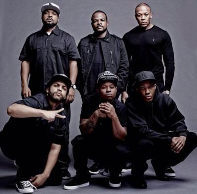 """Straight Outta Compton"" cast: (bottom l-r) O'Shea Jackson, Jr., Jason Mitchell, Corey Hawkins, (top l-r) Ice Cube, F. Gary Gray and Dr. Dre"