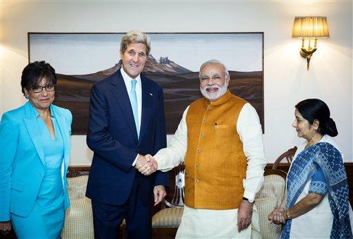 John Kerry, Narendra Modi, Sushma Swaraj, Penny Pritzker