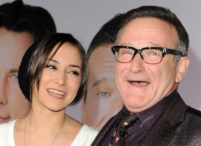 Robin Williams (right) with his daughter Zelda Williams (Katy Winn/AP)