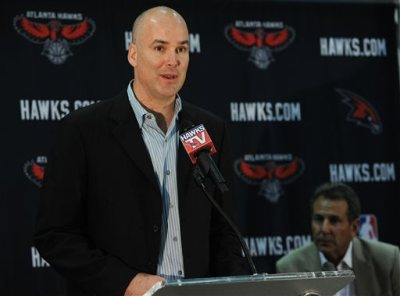 "FILE - In this June 25, 2012, file photo, Atlanta Hawks president of operations and general manager Danny Ferry speaks during a news conference in Atlanta, as team co-owner Bruce Levenson, right, looks on. Ferry has been disciplined by CEO Steve Koonin for making racially charged comments about Luol Deng when the team pursued the free agent this year. Ferry apologized Tuesday, Sept. 9, 2014,  for ""repeating comments that were gathered from numerous sources"" about Deng.  (AP Photo/The Atlanta Journal-Constitution, Johnny Crawford)"
