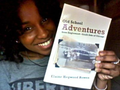 "Elaine Hegwood Bowen with her book ""Old School Adventures from Englewood - South Side of Chicago"" (Courtesy photo)"