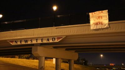 A banner in Ferguson, MO (Rebecca Rivas/St. Louis American)