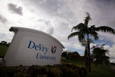 The entrance to the DeVry University in Miramar, Fla. is seen in this Tuesday, Nov. 24, 2009. Many Pell grant recipients are using their money to attend for-profit schools. (AP Photo/J Pat Carter)