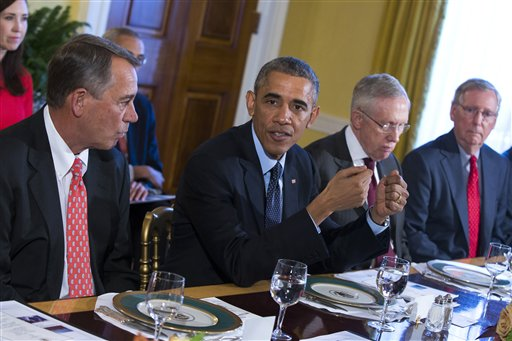 Barack Obama, Mitch McConnell, John Boehner, Harry Reid