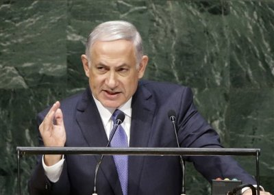 FILE - In this Monday, Sept. 29, 2014 file photo, Benjamin Netanyahu, Prime Minister of Israel, speaks during the 69th session of the United Nations General Assembly at U.N. headquarters in New York. 2014 has been a difficult year for Israelis and Palestinians, with the failure of peace talks and a string of violent incidents that shows no signs of ending. (AP Photo/Seth Wenig, File)