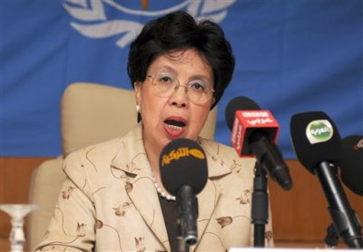 """In this Sunday, Oct. 19, 2014 file photo, Margaret Chan, Director General of the World Health Organization (WHO), addresses the media during a media conference in Gammarth, northeastern Tunisia. In a speech on Monday Nov. 3, 2014, Chan stayed away from any critical remarks about outgoing director of WHO Africa, Dr. Luis Sambo, and instead thanked him for his """"years of dedication"""". (AP Photo/Adel Ben Salah, File)"""