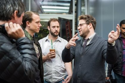"This photo provided by Columbia Pictures - Sony shows, from left, 1st AD Jonathan Watson, DP Brandon Trost, Evan Goldberg,  and Seth Rogen on the set of Columbia Pictures' ""The Interview."" (AP Photo/Columbia Pictures - Sony, Ed Araquel)"
