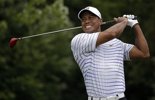 FILE - In this Friday, Aug. 8, 2014 file photo, Tiger Woods winces after tee shot on the sixth hole during the second round of the PGA Championship golf tournament at Valhalla Golf Club in Louisville, Ky. The last time Tiger Woods was seen at a golf tournament was at the PGA Championship when he missed the cut. He returns this week at the Hero World Challenge in Windermere, Fla. (AP Photo/Jeff Roberson, File)