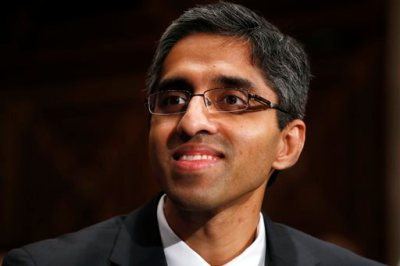 In this Feb. 4, 2014, photo, Dr. Vivek Hallegere Murthy, President Barack Obama's nominee to be the next U.S. Surgeon General, listens on Capitol Hill in Washington. The U.S. Senate on Monday, Dec. 15, 2014,  approved President Obama's nomination of Dr. Murthy to serve as U.S. surgeon general, despite opposition from Republicans and some Democrats over his support for gun control and past statements that gun violence is a public health issue. (AP Photo/Charles Dharapak, File)