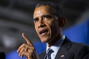 President Barack Obama delivers remarks at the Department of Homeland Security on his FY2016 budget proposal, on Monday, Feb. 2, 2015, in Washington.  Obama warned congressional Republicans Monday that he won't accept a spending plan that boosts national security at the expense of domestic programs for the middle class. (AP Photo/Evan Vucci)