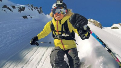 """In this an undated file product image released by GoPro shows the GoPro digital camera mounted on a ski helmet, a hot item on ski slopes and other settings. Helmet cams have become so ubiquitous that they are """"almost the norm"""" at Steamboat Ski & Resort in Steamboat Springs, Colo. (AP Photo/GoPro, File)"""