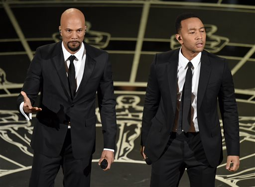 Common, left, and John Legend perform at the Oscars on Sunday, Feb. 22, 2015, at the Dolby Theatre in Los Angeles. (Photo by John Shearer/Invision/AP)