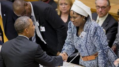 President Obama shakes hands with Nkosazana Dlamini Zuma, chairwoman of the African Union, at United Nations headquarters in New York on Sept. 25. (Pablo Martinez Monsivais/AP Photo)