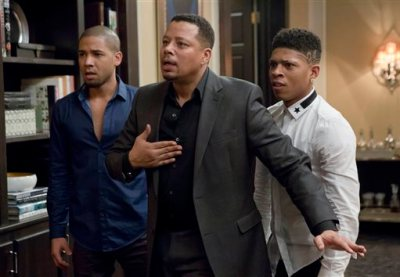 """This photo provided by Fox shows, from left, Jussie Smollet as Jamal, Terrence Howard as Lucious, and Bryshere Gray as Hakeem, in a scene from """"Sins of the Father"""" episode of """"Empire,"""" airing Wednesday, March 11, 2015 (9:01-10:00 p.m. ET/PT) on Fox. (AP Photo/Fox, Chuck Hodes)"""