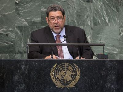 Saint Vincent and the Grenadines Prime Minister Ralph Gonsalves addresses the 67th United Nations General Assembly, at U.N. headquarters on Sept. 28, 2012. (John Minchillo/AP Photo)