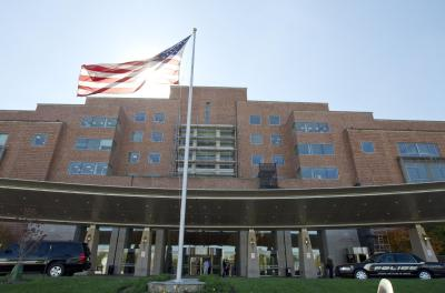 The National Institutes of Health Mark O. Hatfield Clinical Research where Ebola patients are treated is seen here in Bethesda, Md. on October 17, 2014 (Jose Luis Magana/AP Photo)