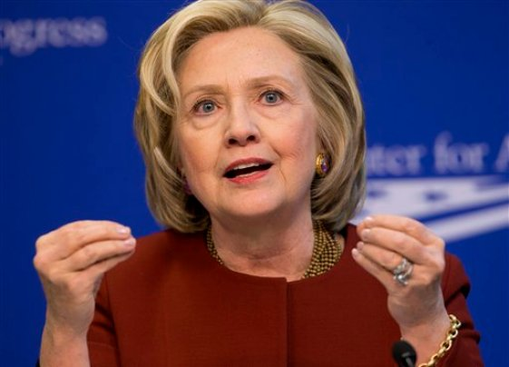 Former Secretary of State Hillary Rodham Clinton speaks at an event hosted by the Center for American Progress (CAP) and the America Federation of State, County and Municipal Employees (AFSCME), Monday, March 23, 2015, in Washington. (AP Photo/Pablo Martinez Monsivais)