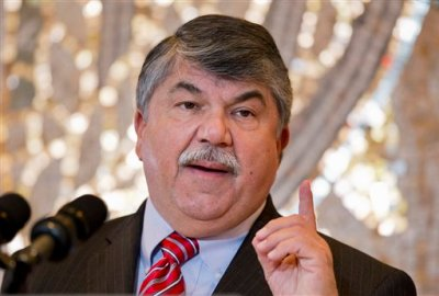 FILE - In this Nov. 13, 2014 file photo, AFL-CIO President Richard Trumka speaks in Washington. Republicans lawmakers in statehouses nationwide are working to weaken organized labor, sometimes with efforts that directly shrink union membership. Walker's signing of right-to-work legislation in Wisconsin on Monday puts his defiance of organized labor even more at the center of his nascent presidential campaign. And the inability of unions to exact a price for the first round of legislation targeting them in 2011 is encouraging even more proposals to limit their power. (AP Photo/Manuel Balce Ceneta, File)