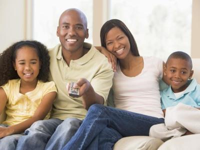 black-family-watching-tv