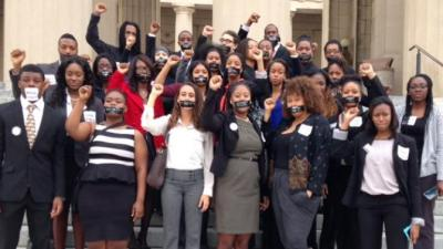Members of the Nashville Student Organizing Committee at the Tennessee Capitol with a message that voter-ID laws silence students' voices, March 25, 2014, in Nashville. (Courtesy of Nashville Student Organizing Committee)
