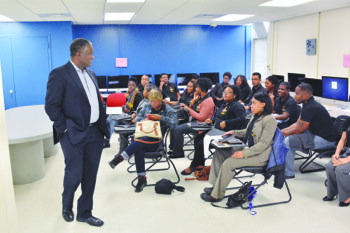George E. Curry welcomes NNPA interns at the Media Lab Rededication on the campus of Howard University on March 26. (Photo by Roy Lewis)