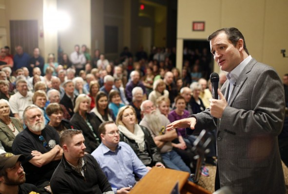 Republican Presidential candidate Sen. Ted Cruz (R-Tex.) speaks at an event Thursday in Cedar Falls, Iowa, during his two-day campaign swing. (Matthew Putney/AP)
