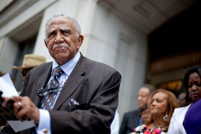 The Rev. Joseph Lowery speaks during a press conference with a coalition of civil rights and attorneys groups saying African-American judges are disappearing from the bench in one of Georgia's most heavily-populated black counties and being replaced by white appointees Thursday, May 24, 2012, in Atlanta. (AP Photo/David Goldman)