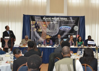 NNPA President Benjamin F. Chavis, Jr. moderates panel on the Black Press (NNPA Photo by Freddie Allen)