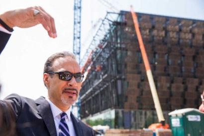 Philip Freelon, lead architect of the National Museum of African American History and Culture, describes how light will travel through the still under construction museum in Washington, Thursday, May 7, 2015. (Brett Carlsen/AP Photo)