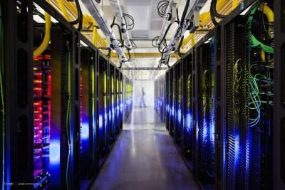 Racks inside a Google data center. (Courtesy of Google)