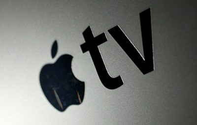 The logo for the new Apple TV converter is shown, Wednesday, Oct. 6, 2010 in New York. The device grabs movies and TV show rentals from the Internet and displays them on a TV. It does much the same thing as the older Apple TV, but is smaller and costs much less, at $99. (AP Photo/Mark Lennihan)