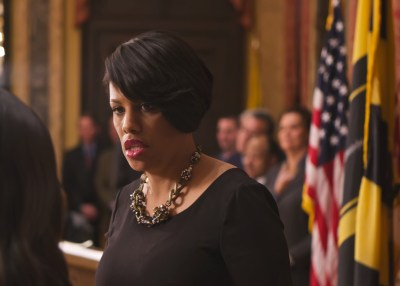 Mayor Stephanie Rawlings-Blake of Baltimore, Md., speaks to a staffer during a swearing in ceremony earlier this year. (Courtesy Photo/Office of the Mayor)