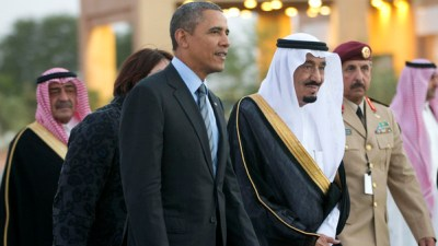 SaudI Arabia's King Salman, when he was crown prince, escorts President Barack Obama to a meeting with late King Abdullah on March 28, 2014. (AP Photo/Pablo Martinez Monsivais)