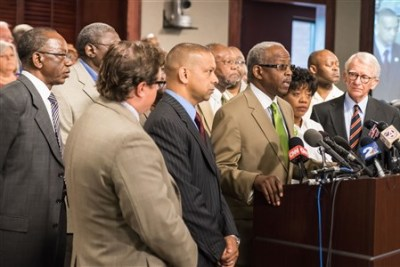 Rev. Nelson Rivers, III speaks during a press conference, June 22, 2015, calling for the Confederate flag to be removed from the S.C. Statehouse grounds. (Joel Woodhall/Charleston Chronicle)