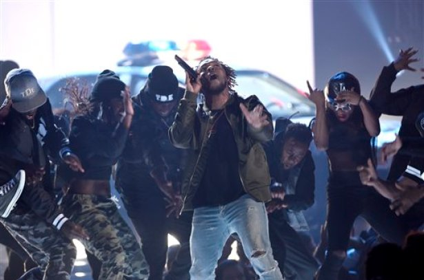 Kendrick Lamar performs at the BET Awards at the Microsoft Theater on Sunday, June 28, 2015, in Los Angeles. (Photo by Chris Pizzello/Invision/AP)