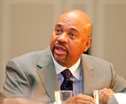 Michael Wilbon speaks at the Shirley Povich Symposium panel in 2011. He is one of the most respected Black journalists in America. (Courtesy of Wikipedia)