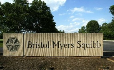 A sign stands in front of the Bristol-Myers Squib Company's headquarters in Lawrence Township in 2005. (AP Photo/Mel Evans)