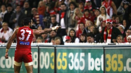 Adam Goodes points the finger after being called an 'ape' by a young Collingwood supporter during the AFL's Indigenous Round. (Courtesy of Andrew White)