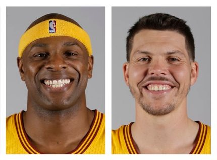 These are 2014, file photos showing Cleveland Cavaliers NBA basketball players Brendan Haywood, left, and Mike Miller, right. A person familiar with the trade says the Cavaliers have traded forward Mike Miller and center Brendan Haywood to Portland to create salary-cap room and save luxury-tax money. The Cavs have been shopping Haywood's expiring $10.5 million contract deal for weeks and worked out a deal with the Blazers, who will also get two second-round picks from Cleveland, said the person who spoke Monday, July 27, 2015,  to the Associated Press on condition of anonymity because the deal is pending league approval. (AP Photo/File)