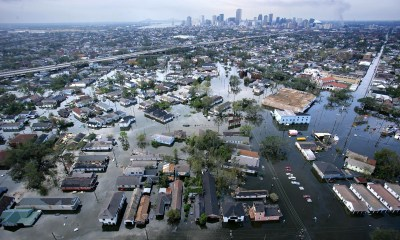 Floodwaters from hurricane Katrina cover a portion of New Orleans on 30 August 2005, a day after the storm passed through the city. (Vincent Laforet/AP Photo)