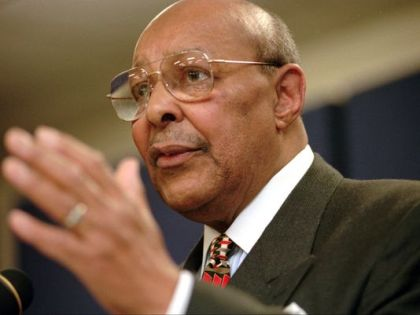 Rep. Louis Stokes, D-Ohio, announces Saturday, Jan. 17, 1998, at the Carl B. Stokes Social Services Mall in Cleveland that he will retire from Congress at the end of the year. Stokes, who served 15 consecutive terms in the U.S. House of Representatives, died Tuesday, Aug. 18, 2015, at the age of 90. (Tony Dejak/AP Photo)