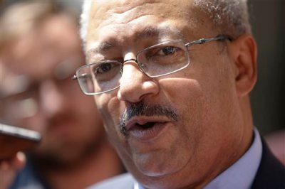 U.S. Rep. Chaka Fattah, D-Pa., arrives at the federal courthouse, Tuesday, Aug. 18, 2015, in Philadelphia. Fattah has been indicted on charges he misappropriated hundreds of thousands of dollars of federal, charitable and campaign funds.  (AP Photo/Matt Rourke)