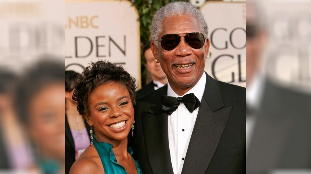 Morgan Freeman with his step-granddaughter Edena Hines at the 62nd annual Golden Globe Awards in Beverly Hills, California, on Sunday, Jan. 16, 2005. (AP/Kevork Djansezian)