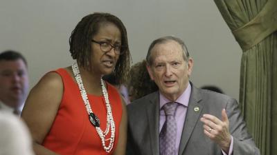 Sen. Holly Mitchell (D-Los Angeles) and Assemblyman Bill Quirk (D-Hayward) discuss her measure that would end the use of grand jury proceedings to investigate police shootings after it failed to get enough votes for passage on the first vote in the Assembly, on July 16 in Sacramento The bill was finally approved on a second vote, 41-33 and was signed by Gov. Jerry Brown on Tuesday. (Rich Pedroncelli/AP Photo)