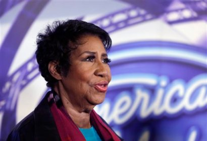 "In a March 4, 2015, file photo, singer Aretha Franklin is interviewed after a taping for American Idol XIV at The Fillmore Detroit. A federal judge in Denver on Friday, Sept. 4, 2015, blocked the scheduled screening at the Telluride Film Festival of the film ""Amazing Grace,"" which features footage from 1972 of a Franklin concert, after the singer objected to its release. (AP Photo/Carlos Osorio, File)"