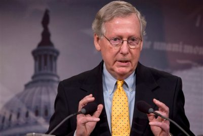In this photo taken Aug. 6, 2015, Senate Majority Leader Mitch McConnell of Ky. speaks during a news conference on Capitol Hill in Washington. McConnell is conceding that his party will have to await the next president before it can cut off federal funds that go to Planned Parenthood. (AP Photo/Jacquelyn Martin, File)